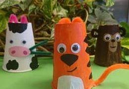 Tiere aus Pappbechern