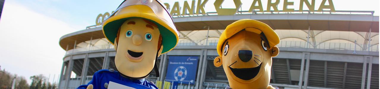 Feuerwehrmann Sam in der Commerzbank-Arena